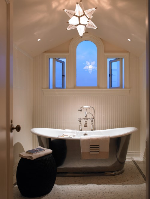 bathrooms - white carrara marble tiles floor silver gray soaking tub star pendant chandelier black woven stool beadboard  Gast Architects  chic,