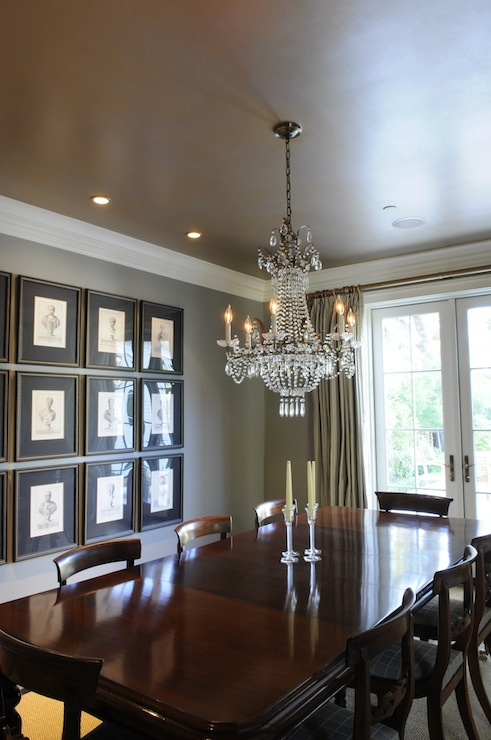dining rooms - ceiling metallic gold silver elegant dining room monochromatic reflection mirror painted  I painted the ceiling finish for this