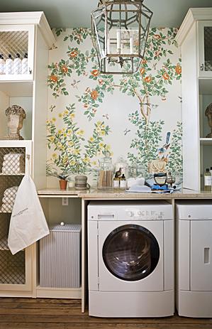 laundry/mud rooms - wallpaper lantern white washer dryer cabinets  Draza Stamenich ~ Gordon Beall Photography  wallpaper, white, washer, dryer,