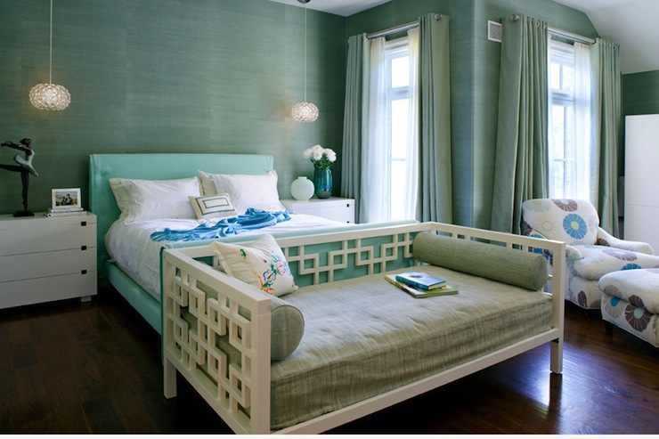 bedrooms - green blue grasscloth wallpaper turquoise blue platform bed West Elm nightstands turquoise blue grommet drapes white West Elm overlapping squares daybed pendants chandeliers