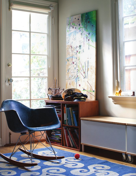 boy's rooms - blue Eames rocker blue rug abstract art bookshelves  Tamara Kay-Honey ~ House of Honey via Rue Mag!