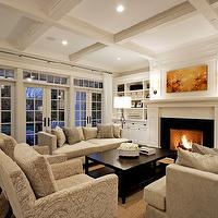 Paul Moon Design - living rooms - coffered ceiling, French doors, transom windows, tan, modern, sofas, gray, chenille, pillows, tan, damask, chairs, espresso, rectangular, coffee table, jute, rug, white, built-ins, fireplace, alabaster lamp, white, drapes,