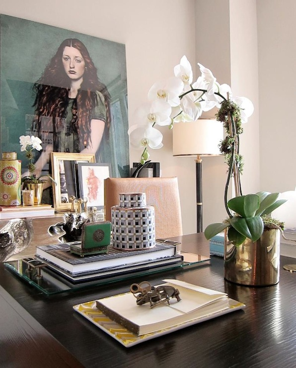 Suzie: Carlyle Designs - Glam office with black desk, white orchids in gold vase, black & gold ...