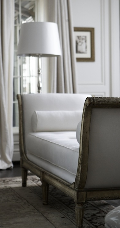 Tracery Interiors: Chic, elegant living room with pearl silk dupioni window panels curtains, French settee ...