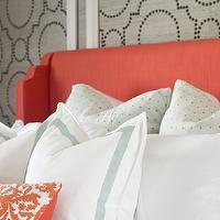 Sarah M. Dorsey Designs - bedrooms - coral headboard, upholstered headboard, coral upholstered headboard, coral fabric headboard, grasscloth, gray grasscloth, grasscloth wallpaper, gray grasscloth wallpaper, grasscloth wall panels, studded wall panels, studded grasscloth panels, coral colored headboard, wingback headboard, coral wingback headboard, border bedding, border shams, coral pillow, embroidered pillow, coral pillow, coral embroidered pillow, sherwin williams grasscloth wallpaper, Sherwin-Williams Coastal Cool Wallpaper Collection, Threshold Natural Core Solid Window Panel,