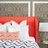 Sarah M. Dorsey Designs - bedrooms - coral headboard, upholstered headboard, coral upholstered headboard, coral fabric headboard, grasscloth, gray grasscloth, grasscloth wallpaper, gray grasscloth wallpaper, grasscloth wall panels, studded wall panels, studded grasscloth panels, coral colored headboard, wingback headboard, coral wingback headboard, border bedding, border shams, coral pillow, embroidered pillow, coral pillow, coral embroidered pillow. brass accent table, brass bedside table, world market lamp, tear drop lamp, teardrop lamp, teardrop table lamp, tear drop table lamp, chevron duvet, gray chevron duvet, chevron duvet cover, white and gray chevron duvet, sherwin williams grasscloth wallpaper, Sherwin-Williams Coastal Cool Wallpaper Collection, Threshold Natural Core Solid Window Panel, West Elm Organic Chevron Duvet Cover,