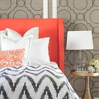 Sarah M. Dorsey Designs - bedrooms - coral headboard, upholstered headboard, coral upholstered headboard, coral fabric headboard, grasscloth, gray grasscloth, grasscloth wallpaper, gray grasscloth wallpaper, grasscloth wall panels, studded wall panels, studded grasscloth panels, coral colored headboard, wingback headboard, coral wingback headboard, border bedding, border shams, coral pillow, embroidered pillow, coral pillow, coral embroidered pillow, brass accent table, brass bedside table, world market lamp, tear drop lamp, teardrop lamp, teardrop table lamp, tear drop table lamp, chevron duvet, gray chevron duvet, chevron duvet cover, white and gray chevron duvet, studded wall panels, sherwin williams grasscloth wallpaper, Sherwin-Williams Coastal Cool Wallpaper Collection, Threshold Natural Core Solid Window Panel, West Elm Organic Chevron Duvet Cover,