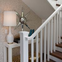 K Mathiesen Brown Design - entrances/foyers - under the stairs, under the stairs table, under the stairs foyer table, under the stairs desk, under the stairs storage, silver sunburst mirror, white lacquer table, foyer table, console table, white lacquer foyer table, white lacquer console table, tall table lamp, white tall lamp, turquoise foo dogs, turquoise blue foo dogs foo dogs, blue foo dogs, graham and brown wallpaper, illusion wallpaper, white and gold wallpaper, Graham & Brown Illusion White & Gold Wallpaper,