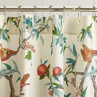 Bath - Zinnia Palampore Organic Shower Curtain | Pottery Barn - botanical shower curtain, birds and flowers shower curtain, palampore shower curtain,