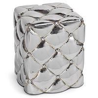 Tables - Regina Andrew Furniture Nickel Metal Tufted Ottoman I Layla Grayce - tufted silver metal ottoman, tufted silver metal side table, tufted nickel side table,