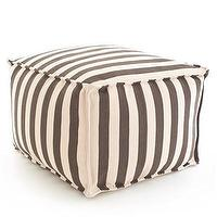 Seating - Dash & Albert Charcoal and Ivory Indoor/Outdoor Pouf I Layla Grayce - gray and ivory striped pouf, striped indoor outdoor pouf, gray and ivory stripe pouf,