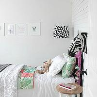 Owen's Olivia - girl's rooms - Benjamin Moore - Secret - eclectic girls room, eclectic girls bedroom, sweet girls room, sweet girls bedroom, decorators white, white wall panels, anthropologie zebra head, savannah story bust, savannah story bust zebra, decorative zebra head, paper mache zebra head, target nightstand, zigzag rug, teal zigzag rug, teal rug, teal chevron rug, chevron rug, urban outfitters rug, vintage bed, purple bed, girls bed, purple twin bed, twin purple bed, target bedding, white ruffle shams, white ruffle blanket, target ruffle sham, target ruffle blanket, target white ruffle sham, target white ruffle blanket, green and pink pillows, gray ceiling, painted ceiling, gray painted ceiling,