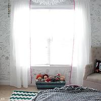 Owen's Olivia - girl's rooms - eclectic girls room, eclectic girls bedroom, sharpie wall art, ikea curtains, ikea drapes, ikea window panels, ikea vivan panels, homegoods chair, beige tufted chair, vintage dresser, french dresser, sharpie art,