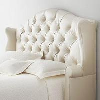 Beds/Headboards - Devona Tufted Headboard I Horchow - ivory tufted headboard, ivory tufted wing headboard, ivory tufted wing style headboard,