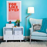 JAC Interiors - girl's rooms - Cox Paint - Diamonds Are Not Forever - pink and turquoise girls bedroom, modern white storage, white storage shelf, white woven boxes, storage boxes, modern framed print, turquoise walls, turquoise wall color, hardwood floors, dark hardwood floors, white trim, white baseboards, black hardwood floors, shag rug, adjustable floor lamp, blue tasseled throw, blue pom pom tasseled throw, love pillow, striped blue wing chair, striped blue wing back chair, Jonathan Adler Victorian Love Pillow, Super Rural For Like Ever Print, turquoise girls room, turquoise blue girls room, turquoise girls bedroom, turquoise blue girls bedroom, turquoise walls, turquoise blue walls, turquoise blue walls, turquoise blue paint colors, turquoise chair, turquoise blue chair, turquoise tufted chair, turquoise blue tufted chair, turquoise wingback chair, turquoise blue wingback chair,