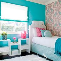 JAC Interiors - girl's rooms - Cox Paint - Diamonds Are Not Forever - turquoise and pink girls bedroom, shag carpet, shag rug, turquoise wall, turquoise wall color, paisley wallpaper, pink and turquoise paisley wallpaper, wallpapered accent wall, accent wall, bedroom accent wall, blue tasseled throw, blue pom pom tasseled throw, oversized paisley wallpaper, white coverlet, pink trellis pillow, round turquoise pillow, square turquoise pillow, turquoise bed skirt, white headboard, shag rug, white shag rug, white upholstered headboard, white upholstered headboard with button tufting, white headboard with turquoise button tufting, white floor shelf, modern white floor shelf, dark hardwood floors, hardwood floors, black hardwood floors, white roman blind, white roman blind with turquoise border, turquoise and white roman blind, pink table lamp, Osborne and Little Nizam Wallpaper, turquoise girls room, turquoise blue girls room, turquoise girls bedroom, turquoise blue girls bedroom, turquoise walls, turquoise blue walls, turquoise blue walls, turquoise blue paint colors,