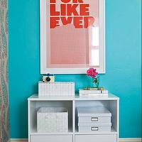 JAC Interiors - girl's rooms - Cox Paint - Diamonds Are Not Forever - modern white storage, white storage shelf, white woven boxes, storage boxes, modern framed print, turquoise walls, turquoise wall color, hardwood floors, dark hardwood floors, white trim, white baseboards, black hardwood floors, shag rug, Super Rural For Like Ever Print, turquoise girls room, turquoise blue girls room, turquoise girls bedroom, turquoise blue girls bedroom, turquoise walls, turquoise blue walls, turquoise blue walls, turquoise blue paint colors, turquoise wall paint, turquoise blue wall paint,