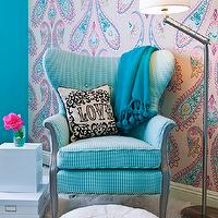 JAC Interiors - girl's rooms - Cox Paint - Diamonds Are Not Forever - turquoise and pink girls bedroom, shag carpet, shag rug, turquoise wall, turquoise wall color, paisley wallpaper, pink and turquoise paisley wallpaper, wallpapered accent wall, accent wall, bedroom accent wall, lacquered white cube, storage boxes, adjustable floor lamp, blue tasseled throw, blue pom pom tasseled throw, love pillow, blue pouf, moroccan pouf, blue moroccan leather pouf, oversized paisley wallpaper, striped blue wing chair, striped blue wing back chair, Jonathan Adler Victorain Love Pillow, Osborne and Little Nizam Wallpaper, , turquoise girls room, turquoise blue girls room, turquoise girls bedroom, turquoise blue girls bedroom, turquoise walls, turquoise blue walls, turquoise blue walls, turquoise blue paint colors, turquoise chair, turquoise blue chair, turquoise tufted chair, turquoise blue tufted chair, turquoise wingback chair, turquoise blue wingback chair,