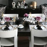 Erika Brechtel - dining rooms: gray dining room, gray paint colors, gray dining room paint colors, gray walls, gray dining room walls, mombasa mist, beveled mirror, diy lindsey adelman chandelier, gold chandelier, light bulb chandelier, modern chandelier, black dining table, rectangular dining table, rectangular black dining table, white dining chairs, open back dining chairs, white leather dining chairs, black dining table with white dining chairs, white dining chairs with black dining table, moroccan lantern, black moroccan lantern, mirrored tray, mirrored tiles tray, david hicks pillows, la fiorentina pillows, ballard deisgns chairs, black bamboo chairs, macau chair, black macau chair, black faux bamboo chair, sea urchin, sea urchin decor, black and gold urchin, white and gold china, jonathan adler salt and pepper shakers, white and gold salt and pepper shakers, gold flatware,