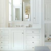 All Alabama - bathrooms - white cabinets, white bathroom cabinets, white vanity, white bathroom vanity, white vanity with white countertop, white bathroom vanity with white countertop, white vanity with white marble countertop, white bathroom vanity with white marble countertop, white cabinets with white countertops, white bathroom cabinets with white countertops, white cabinets with white marble countertops, white bathroom cabinets with white marble countertops, recessed mirror, recessed bathroom mirror, antiqued mirrored bathroom accessories, antique mirrored bathroom accessories, antiqued mirrored tissue box, antiqued mirrored soap dish, antiqued mirrored toothbrush holder, marble tile floor, marble tiled bathroom floor, marble bathroom floor,