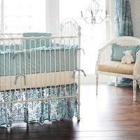 New Arrivals Inc - nurseries - #nursery #aqua #velvet #classic, aqua crib bedding, aqua nursery bedding, cane chair, white cane chair,  Velvet
