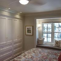 Lejla Eden Interiors - bedrooms - Benjamin Moore - Overcast - Shaker closet, custom built-ins, window seat,  Master bedroom Custom built-in closet