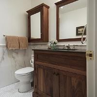 Lejla Eden Interiors - bathrooms - Benjamin Moore - Cloud White - Walnut vanity, marble floor,  Ensuite Bathroom with custom walnut vanity and