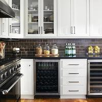 Urrutia Design - kitchens: white kitchen, white cabinets, brown subway tile, brown subway tile kitchen, brown subway tile backsplash, white cabinets with brown subway tile,