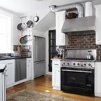 Urrutia Design - kitchens - white kitchen, brown subway tile, brown subway tile kitchen, brown subway tile backsplash, white cabinets with brown subway tile, exposed kitchen hood vent, exposed vent, exposed kitchen vent,