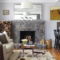 Urrutia Design - living rooms - fireplace, cowhide, mexican handle, linen sofa, minotti, cowhide rug,  URRUTIA DESIGN www.UrrutiaDesign.com Photography