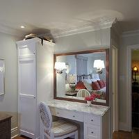 Lejla Eden Interiors - bedrooms - Benjamin Moore - Overcast - make up vanity, overcast, marble top, bedroom,  Make-up vanity in master bedroom