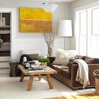 Urrutia Design - living rooms: wainscot, brown sofa, brown velvet sofa, bling chandelier, rustic coffee table,  URRUTIA DESIGN www.UrrutiaDesign.com