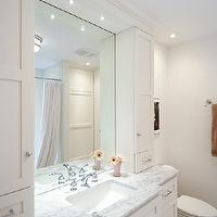 Lejla Eden Interiors - bathrooms - Benjamin Moore - Cloud White - shaker cabinets, cloud white, marble countertops,  Guest bathroom with custom
