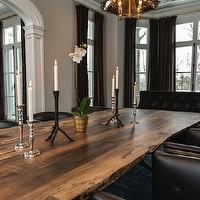 Vanessa Deleon - dining rooms: live edge dining table, live edge wood dining table, rustic wooden dining table, iron and leather barrel back chairs, leather barrel back chairs, barrel back dining chairs, iron candlesticks, silver candlesticks, bay window, bay window in dining room, floor length drapes, floor length curtains, chocolate brown velvet drapes, chocolate brown velvet curtains, brown velvet drapes, brown velvet curtains, greige walls, greige wall color, white trim, white moldings, wallpapered ceiling, silver foil floral wallpaper, wallpapered ceiling, wallpapered dining room ceiling, silver and black floral wallpaper, metallic wallpaper, silver metallic wallpaper, zinc pendant, zinc and antique mirrored pendant, Calvin Chair, reclaimed wood dining table, black dining chairs, black leather dining chairs, back tufted chairs, black drapes, black window panels, black velvet settee, black tufted settee, black velvet settee, black velvet tufted settee, salvaged wood dining table, reclaimed wood dining table, black dining chairs, black tufted dining chairs,